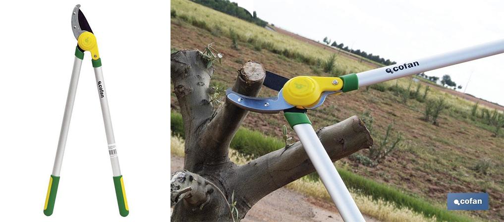 tijeras de poda con multiplicador de cuchillas tipo yunque Cofan